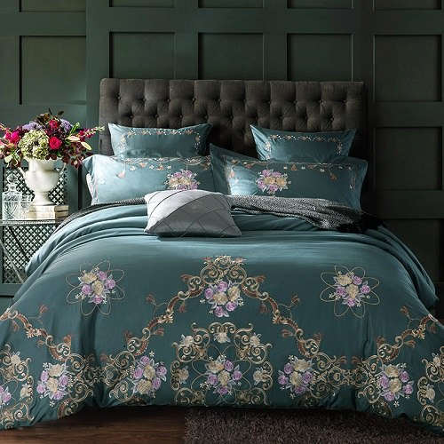 teal  gold luxury 100 cotton embroided bedding set