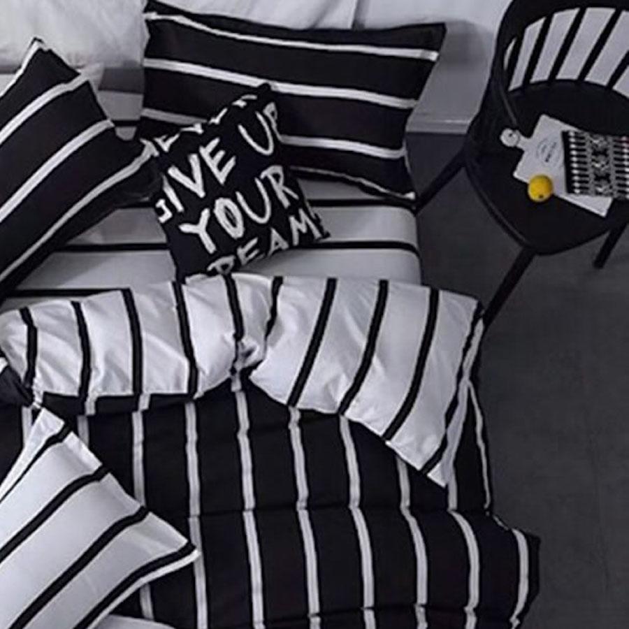 black white striped bed linen set