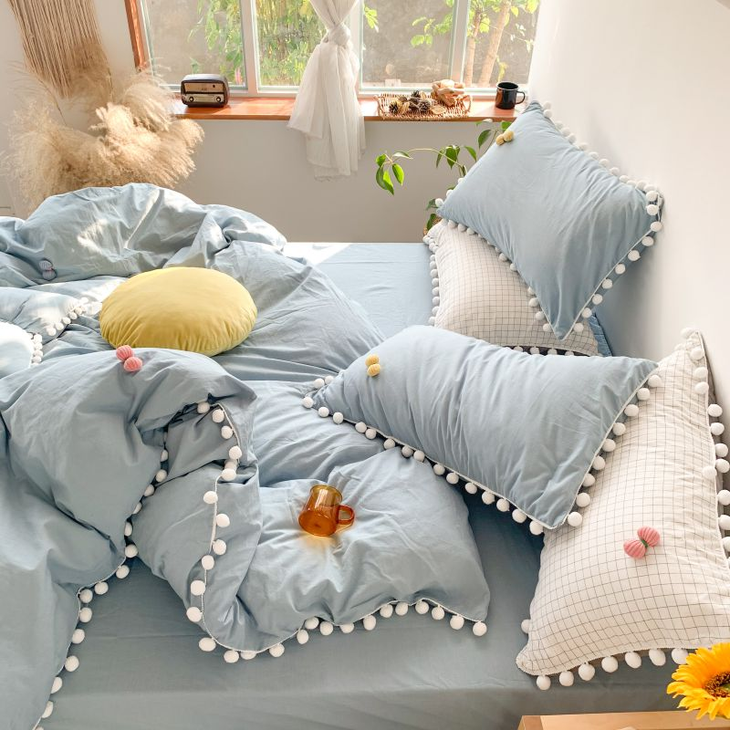Nature Soft Washed Cotton Duvet Cover Bed Sheet Set Pillowshams 4Pcs Full/Queen Size with Zipper Pom Fringe Bow Comforter Cover