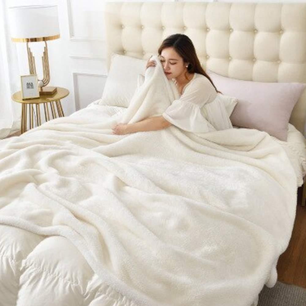 buy white fluffy blanket
