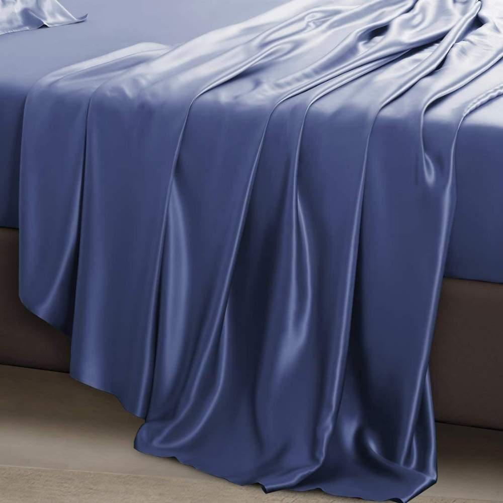 buy blue silk sheets